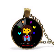 New Undertale Rainbow Heart Flowery Photo Glass Pendants Necklace for Women Statement Long Chain Fashion Jewelry necklace HZ1