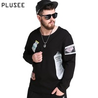 Plusee Casual Hoodies Men Plus Size Sweatshirt Men Black 2017 Spring New Print Loose Big Size