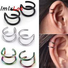 1 Pair New Punk Rock Ear Clip Cuff Wrap Earrings No piercing-Clip Hollow Out U Pattern Statement jewelry Unisex 4 Colors