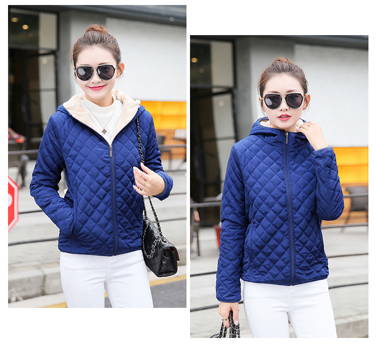 Autumn 2019 New Parkas basic jackets Female Women Winter plus velvet lamb hooded Coats Cotton Winter Jacket Womens Outwear coat 20