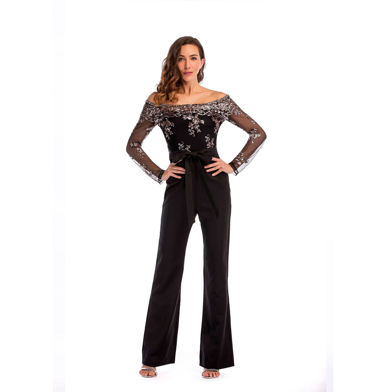 Long Sleeve Sequins Trousers Black Loose Jumpsuit Off Shoulder Sexy Women Casual Pants with  Sashes Plus Size Clothing