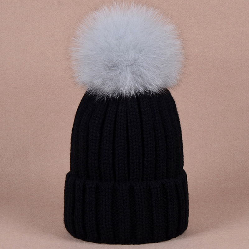 e5f74bcdb78 Stylish warm beanies winter hat with quality large size black raccoon dog  fur