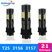 T25 3156 3157 Led P27W P27/7W Bulbs Super Bright 1200LM Auto Car Turn Signal Lamp Reverse Lights White Yellow Red 12V 24V