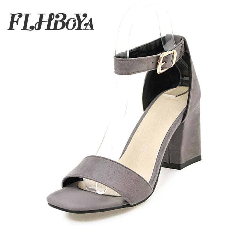 859beb7bc90 ... Sandals women 2018 summer med square chunky heels red black Buckle  ankle strap high Block heel ...