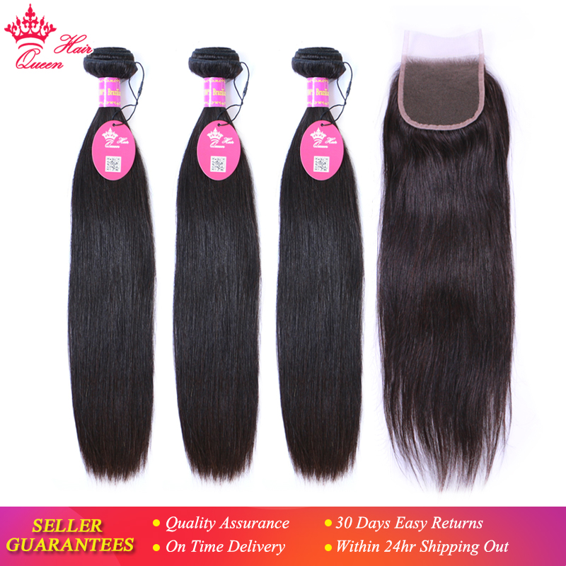 Queen Hair Products Virgin Brazilian Straight 3 Bundles With Closure Natural Color 100 Human Hair Lace