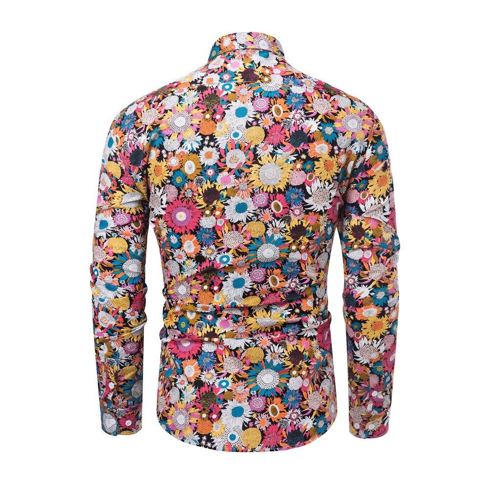 2019 Brand New Men Casual Shirts Retro Floral Printed Classic Men Dress Shirt Men's Long Sleeve Fashion Spring Shirts Tuc20