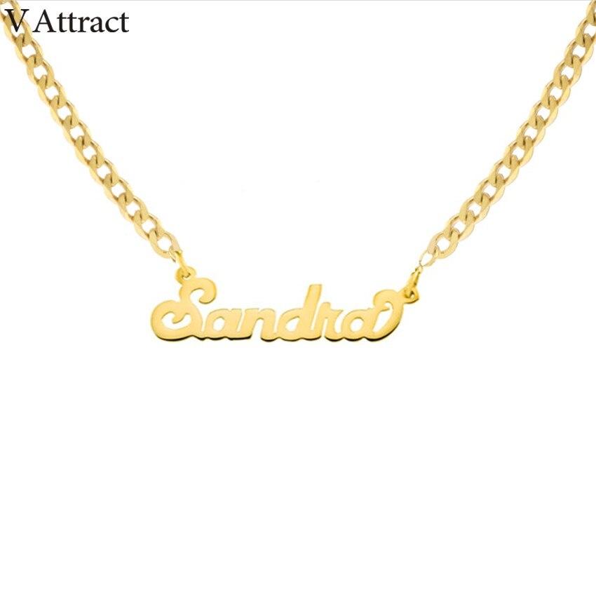 Gold Silber Curb Kette Halsband Custom Name Anhänger Halskette Personalisierte Schmuck Weihnachten Geschenk Alt Englisch Schrift Lange Halsketten