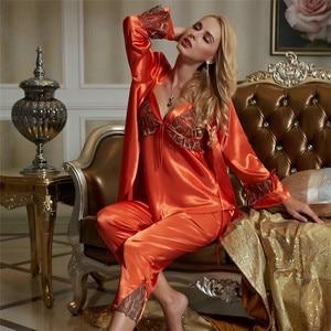 Image 2 - Xifenni pyjama simili pyjama en soie en Satin pour femme, ensemble trois pièces, Sexy, dentelle, vêtements pour la maison, vêtements de nuit en soie