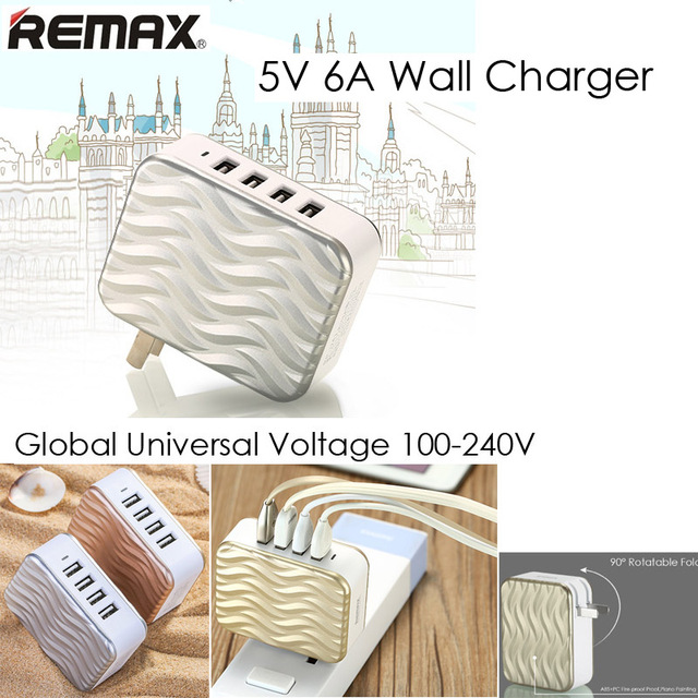 Remax 5V 6A US USB Wall Charger Adapter 4 Port USB 6A Power Charger US USB Wall Charging for iPhone ipad Tablet PC Mobile Phones