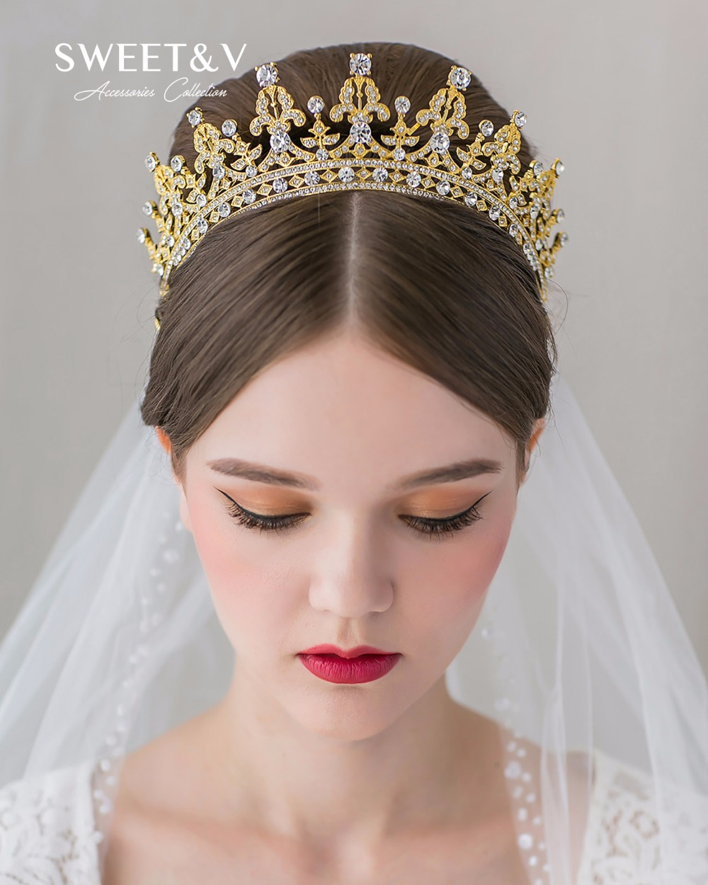 Gold / Rose Gold Jeweled Queen Tiara w/ Pearl & Crystal Bridal Hair ...