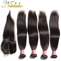 "7A Brazilian Straight Hair With Closure 4 Bundles Brazilian Straight Human Hair With Closure ""4*4"" Lace Closure With Bundles"