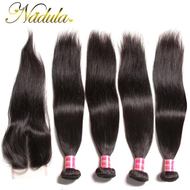 """7A Brazilian Straight Hair With Closure 4 Bundles Brazilian Straight Human Hair With Closure """"4*4"""" Lace Closure With Bundles"""