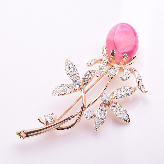 Pink semi-precious stone flower brooches