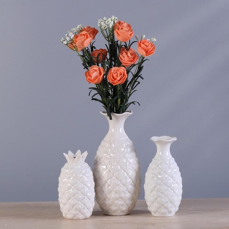 creative ceramic Pineapple vase Mini flower Desktop decoration Dried artificial decorative ornaments