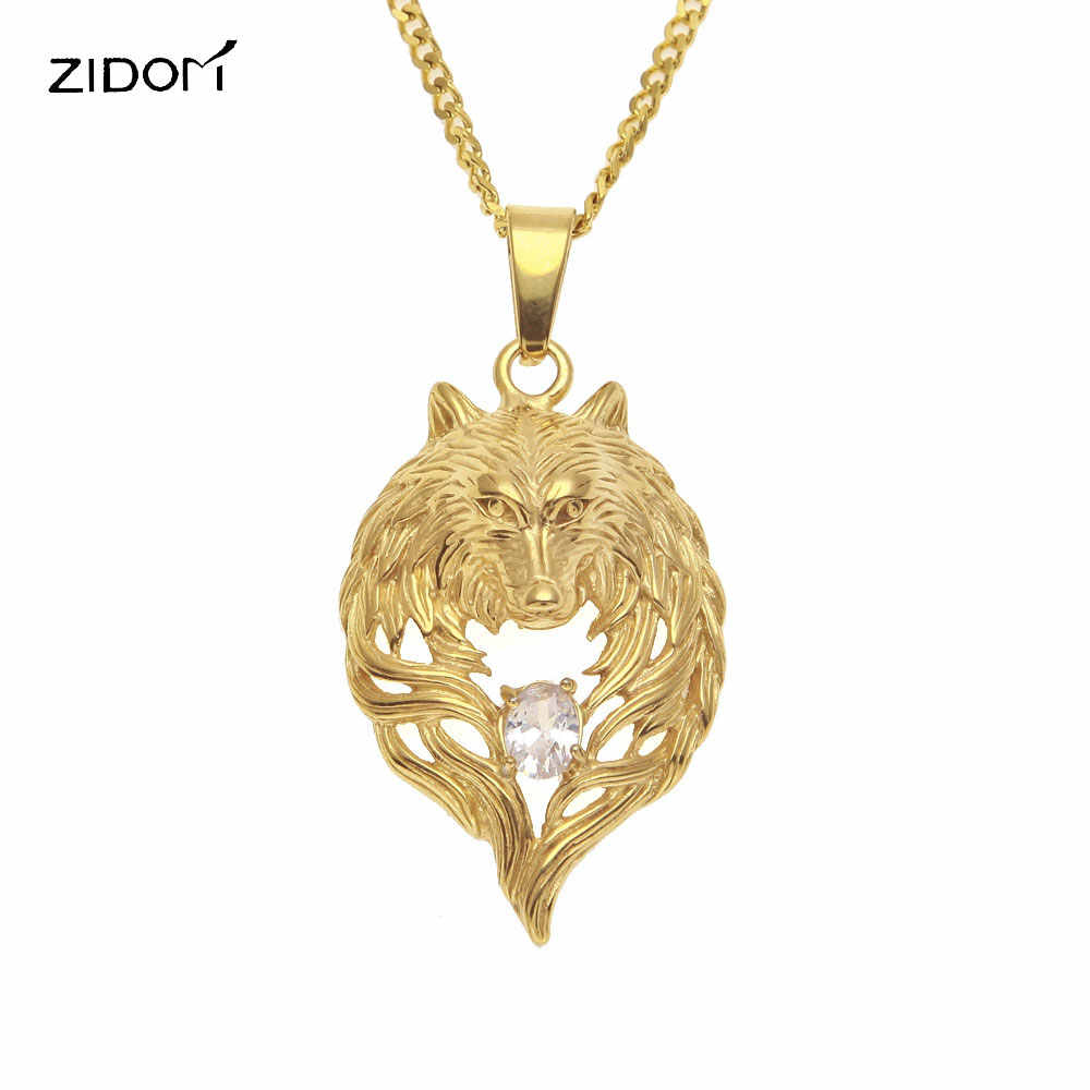 Kualitas Tinggi 316L Stainless Steel dengan AAA Zircon Serigala Kepala Liontin Kalung Pria Hiphop Hewan Bentuk Kalung Fashion Perhiasan