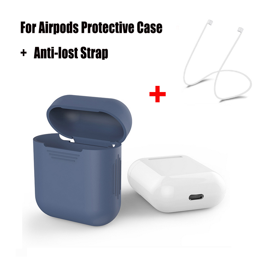Para Apple AirPods Funda de silicona azul Cubierta protectora a - Audio y video portátil