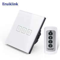 SESOO Crystal Glass Panel Wireless Remote Control Touch Switch EU Standad Remote Touch Light Switch Wall