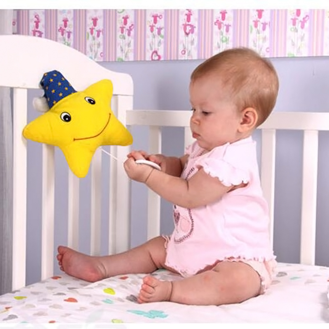 Hanging Toys Itty-bitty Star Style Musical Pullstring Crib Bay Bed Hanging Toy for Newborns Children