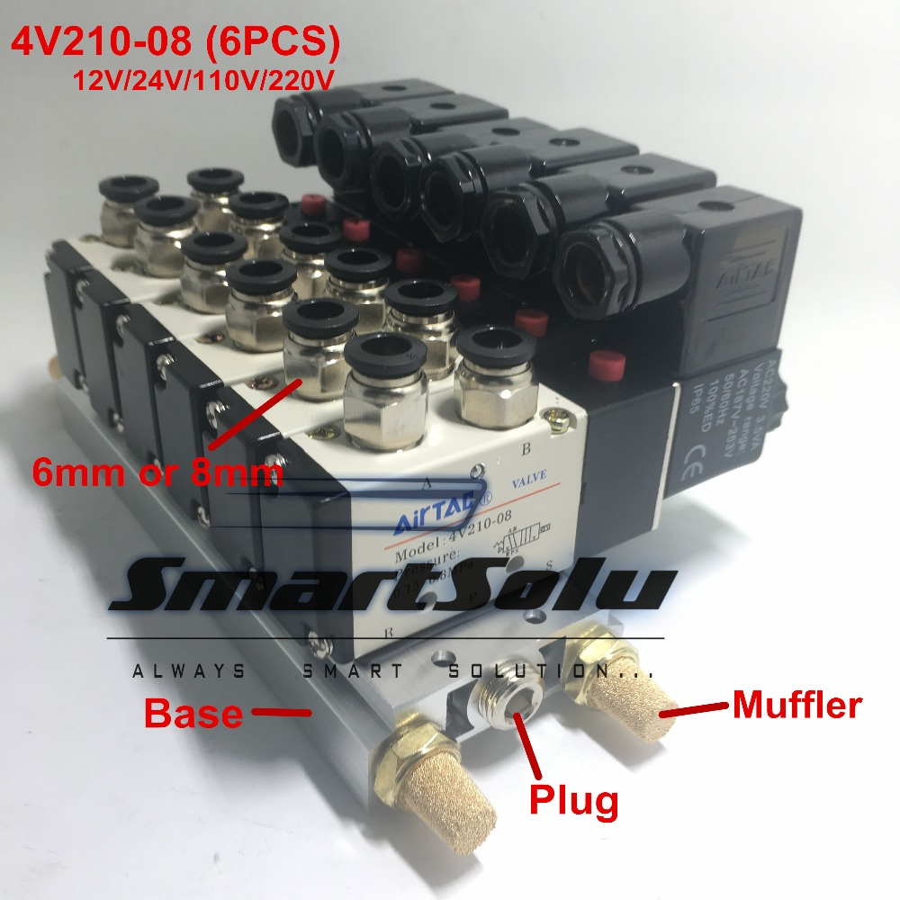 Free shipping 4V210-08 X6 2 Positions Twin Solenoid Valve Mufflers Connected 6MM 8MM Quick Fittings Base Set 1/4 BSP free shipping triple solenoid valve 4v210 08 2 position base muffler connect 6mm 8mm quick fitting valves set 1 4 bsp