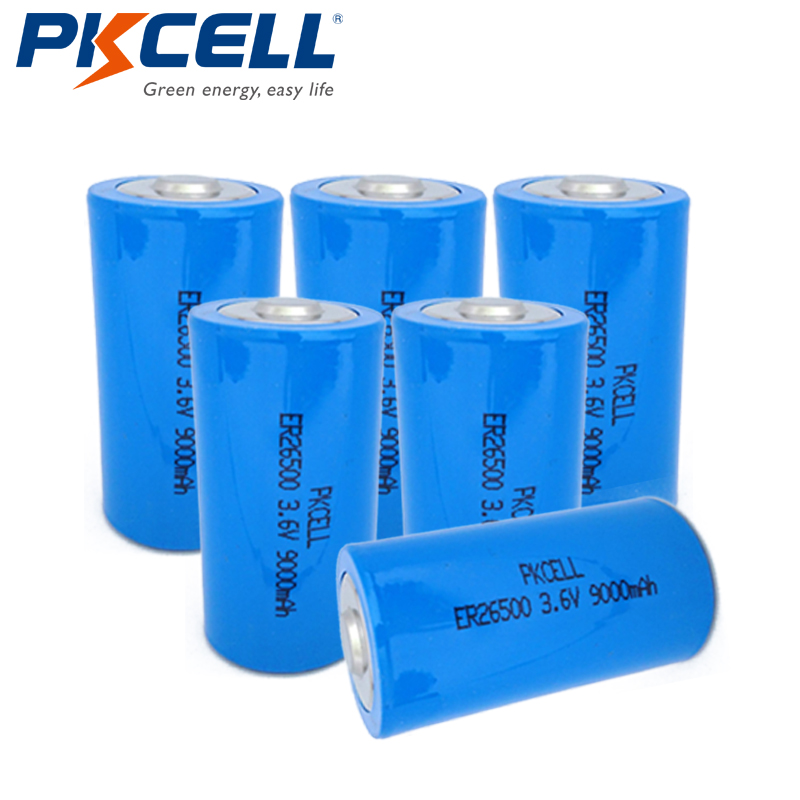 6pcs/lot PKCELL 3.6V ER26500 Lithium Battery 3.6 Volt 9000mAh C Size Li-SOCl2 Unrechargeable Batteries for Medical Devices