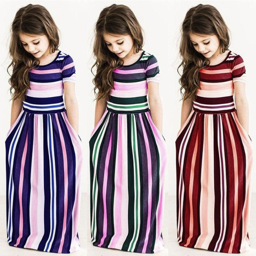 Kids Dresses For Girls Toddler Baby Girls Striped Beach Strap Clothes Long Dress Bohemian