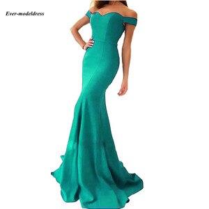 Image 5 - Vestidos de dama de honor con hombros descubiertos, sirena, Cremallera larga, tren de barrido trasero, sencillos, Vestidos para Fiesta de graduación, baratos, 2020