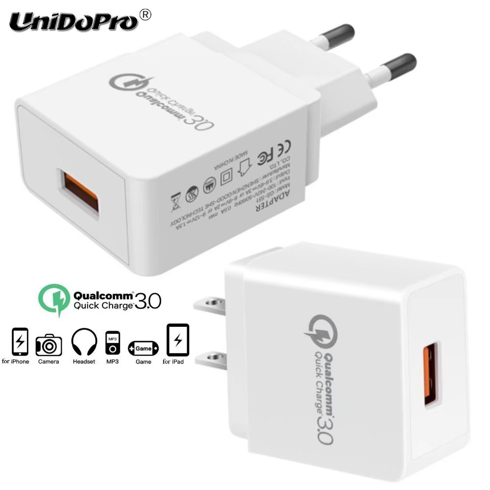 Unidopro Quick Charge QC 3.0 18 Вт США ЕС Plug AC Зарядное устройство для Allview Viva h1002 LTE h1001 h802 h801 ax501q Планшеты стены chargeur