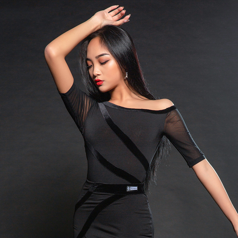 Women Ballroom Latin Dance Shirts Black Short Sleeve Sexy Mesh Latin Top For Ladies Rumba Cha Cha Samba Practice Wear DQS1852