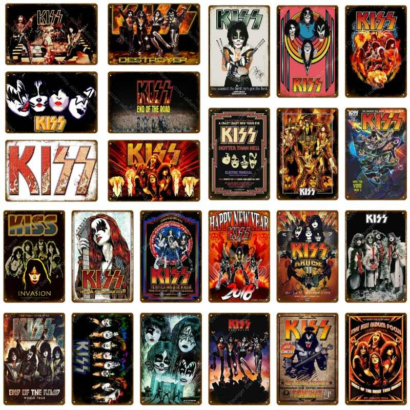 Music Rock Metal Signs Vintage Poster Kiss Band Plaque Wall Sticker Home Decoration Classic Painting Plate Bar Club Decor