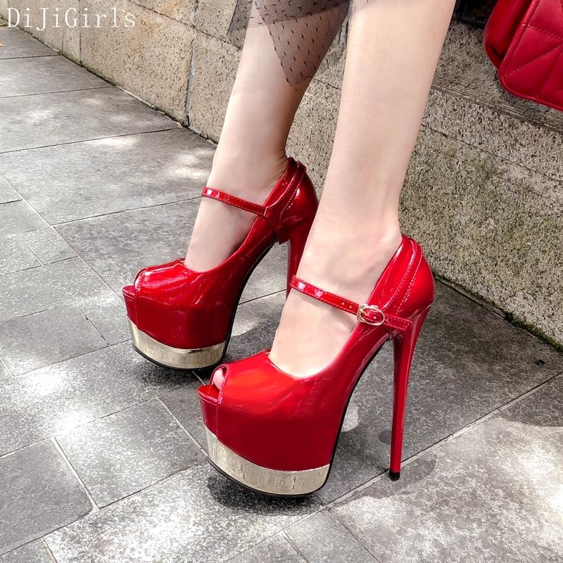 DiJiGirls sexy 16 cm High Heels Pumps Fish Mouth Peep Toe Platform Shoes Womens Fetish Shoes Night club Party Heels Red Stiletto