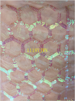 Free shipping African sequins fabric, peach color High quality sequins voile lace with sequins,5y,purple sequins and peach mesh фото
