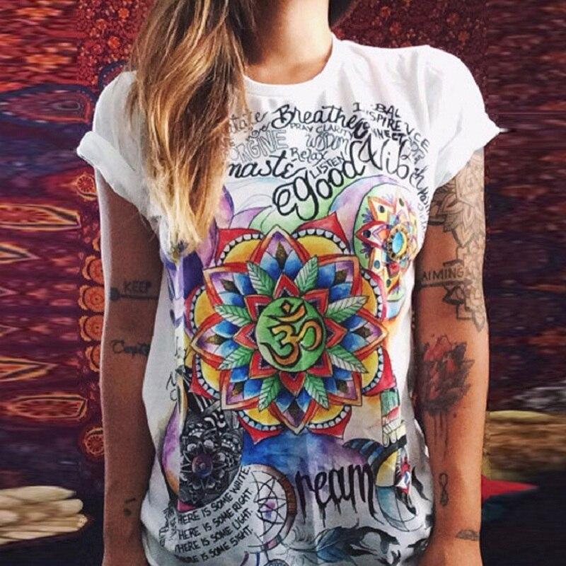 Free shipping Women Totem T-shirt 2016 Vibe With Me Print Sun harajuku Punk Fashion Tee Graffiti Flower Women Clothing Plus Size