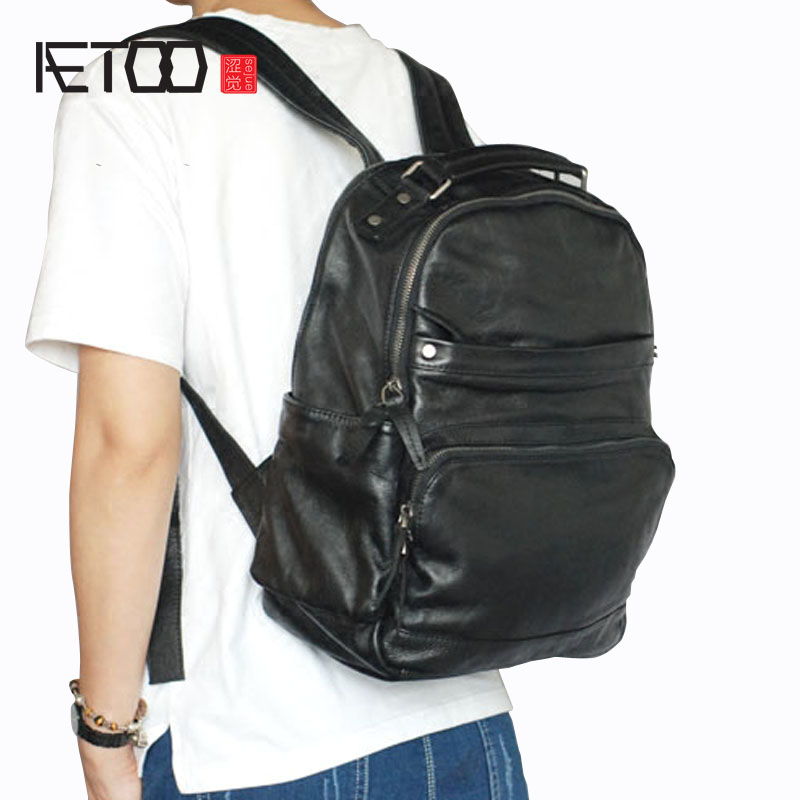AETOO Leather mens shoulder bag imported leather Korean version of the influx of women backpack wide shoulder strap computer ba