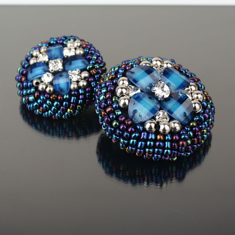 10pieces Handmade Decorative Rhinestone Buttons, High-grade Blue Costura Big Sewing Pearl Coat Buttons