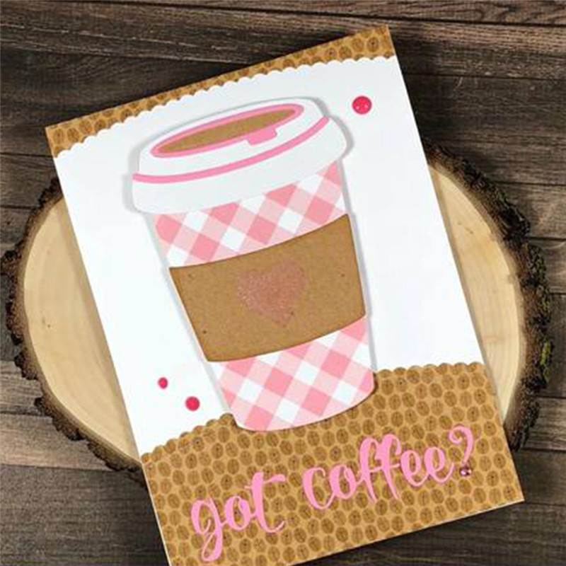 Naifumodo Layered Coffee Cup Metal Cutting Dies For Scrapbooking Card Making Album Embossing Crafts Diecut Stencil New Template