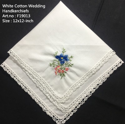 Set Of 12 New Wedding Handkerchiefs White Cotton Hankies With Lace Edged & Color Embroidered Floral Hanky For Bride Gifts 12x12