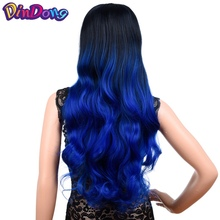 DinDong Wavy U Part Wigs for Women 26 Upgrade clip in hair extension synthetic natural half wig Blue Pink Grey