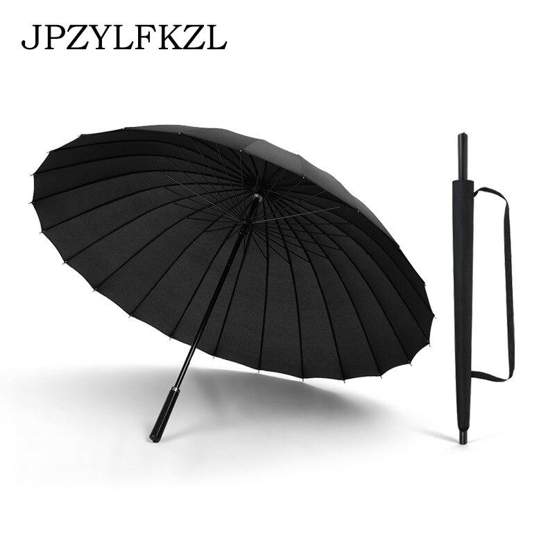 24K Large Women umbrella Rain Women Windproof male Walking Stick Umbrellas Men Leather Golf Sun Paraguas Colorful Parasol Cane-in Umbrellas from Home & Garden