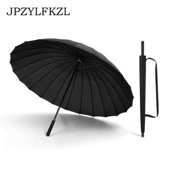 24K Large Women umbrella Rain Women Windproof male Walking Stick Umbrellas Men Leather Golf Sun Paraguas Colorful Parasol Cane