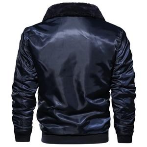 Image 3 - Masculino tático piloto bombardeiro jaqueta inverno outono quente jaquetas de vôo militar gola de pele do exército motocicleta parkas casacos de lã