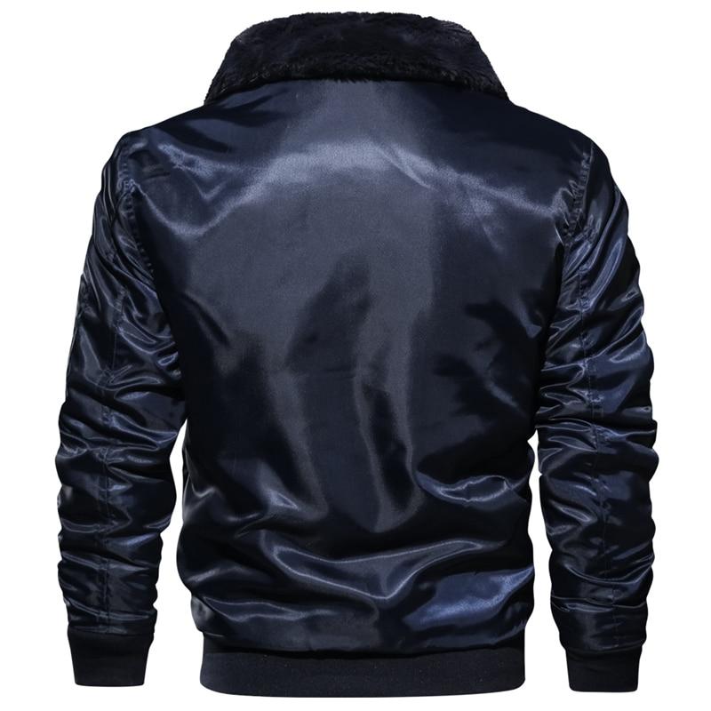 Image 3 - Men's Tactical Pilot Bomber Jacket Winter Autumn Warm Military Flight Jackets Fur Collar Army Motorcycle Parkas Fleece Coats Men-in Jackets from Men's Clothing