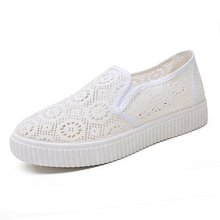 2019 Summer Women Flats White Platform Shoes Women Breathable Cut Out Espadrilles Ladies Casual Mesh Sneakers Slip-On Shoe Women