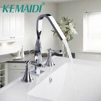 KEMAIDI New Design Construction & Real Estate Deck Mounted Two Handles 3 Pcs Set Bath Fixture Bath Hardware Sets Bathroom Faucet