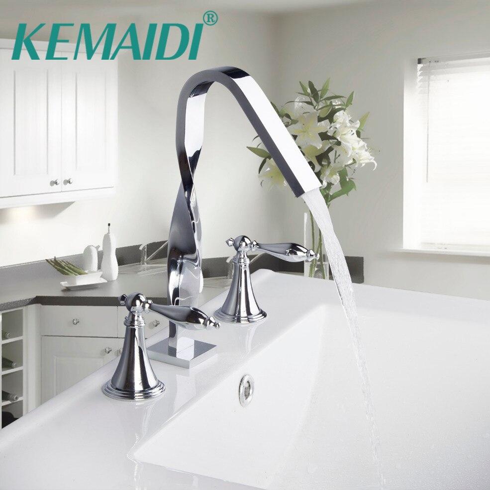 KEMAIDI новый дизайн строительство и строительство дома на бортике две ручки 3 шт. набор приспособление для ванной Аппаратные Наборы для ванной кран для ванной комнаты