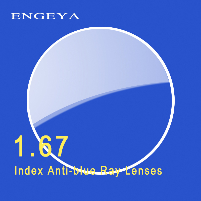 ENGEYA 1.67 Index Anti-blue Single Vision Resin Lenses Aspheric Lenses for Myopia Hyperopia Prescription Eyeglasses Lens UV400