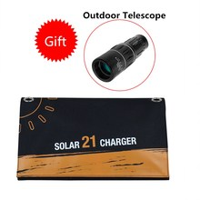 Willone 5V/18V 21W Solar Panel Charger USB DC Dual Output Portable Solar Charger with Storage Bag