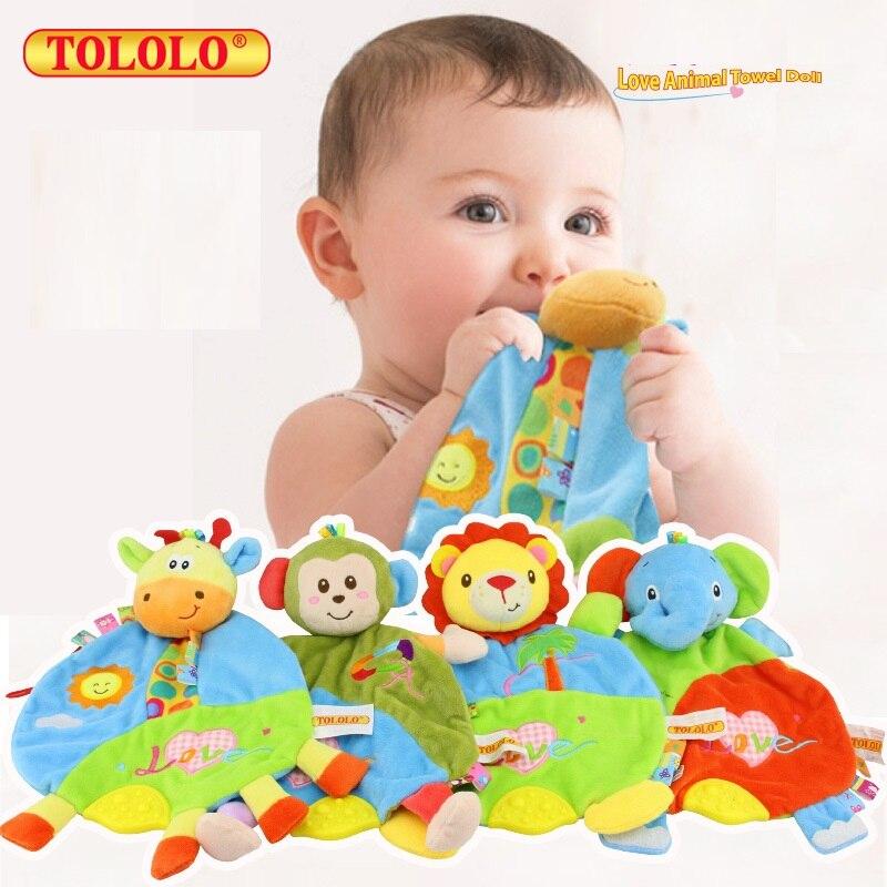 Baby мультфильм животных рук Кукольный резинка соску Прорезыватель Полотенца жевательные ...
