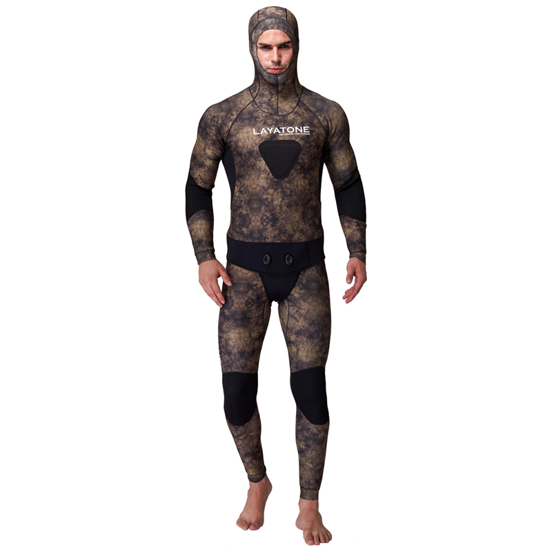 5mm Rubber Neoprene Spearfishing Wetsuit For Underwater Fishing Pesca Peche Camouflage With Diving Vest Open Cell Hood WS-200-5 mens camouflage 3mm neoprene wetsuit weight belt vest veste for spearfishing fishing clothes women