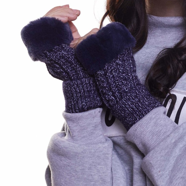 Haimeikang Winter Real Fur Women Fingerless Thicken Gloves Knitting Wool Mittens Wrist Warm Winter Female Gloves Soft Mittens