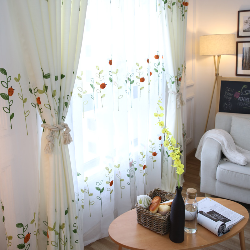 rideau de porte rustique pour enfants rideau design brode pour la maison le balcon les feuilles blanches en lin vert pour chambre a coucher